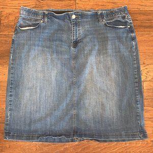 Stretchy Denim Medium Wash Pencil Skirt 24W
